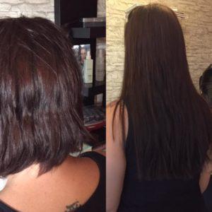 Haarverlängerung. Kundin vor und nach der Verlängerung.
