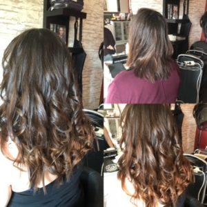 Echthaarverlängerung. Kundin vor und nach der Haarverlängerung.